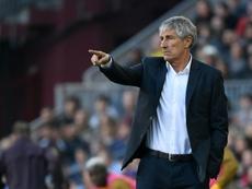 Setién, satisfait de la victoire du Barça. AFP