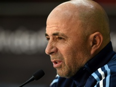 Argentina manager Jorge Sampaoli attends a press conference in Melbourne on June 8, 2017 ahead of a match against Brazil