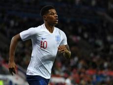 Rashford ha perdido la titularidad en Inglaterra a manos de Sterling. AFP/Archivo