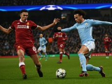 Trent Alexander-Arnold pictured at Etihad last season against Manchester City. AFP