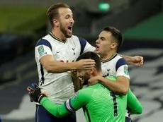 El Tottenham ganó 7-2 al Maccabi Haifa para superar la última previa. AFP