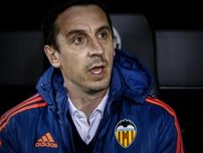 Gary Neville tuvo un desafortunado paso por el Valencia. AFP/Archivo