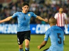 Valverde salió por la puerta grande en su debut con Uruguay. AFP