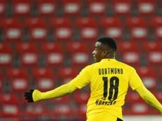 Moukoko se convirtió en el goleador más joven de la historia de la Bundesliga. AFP
