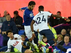 Son (L) will not be banned after his red card at Everton was rescinded. AFP