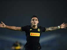 The size of the task: Lautaro Martinez celebrated scoring against Brescia and then said second-place Inter Milan were tired