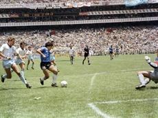 Maradona scores the second. AFP