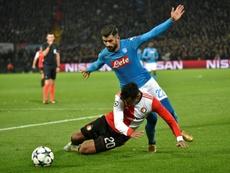 Elseid Hysaj has a contract with Napoli until June 2021. AFP