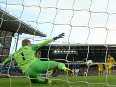 Pickford kept the spot-kick out. AFP