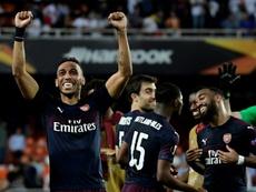 Aubameyang was the hero for Arsenal over Valencia. AFP