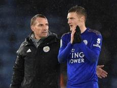 Vardy le hizo un 'hat trick' al Leicester. AFP