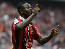 Le joueur de Nice, Jean-Michaël Seri est content à Nice. AFP