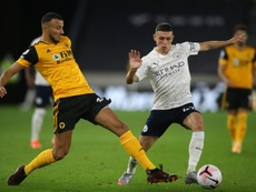 Phil Foden marcou o segundo gol do Manchester City contra os Wolves. AFP