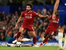 Salah no está rindiendo al nivel de la temporada pasada. AFP
