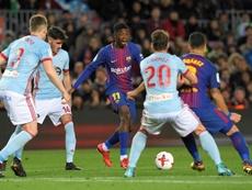 Dembélé cuajó buenos minutos en el Camp Nou. AFP