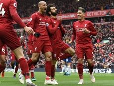 Com golaço de Salah o Liverpool soma mais três. AFP
