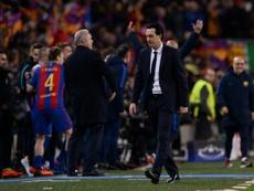 El trauma de Emery en el Camp Nou. AFP