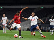 Eric Dier (R) wants double his current salary. AFP