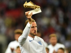 Harry Kane with the World Cup Golden Boot. AFP