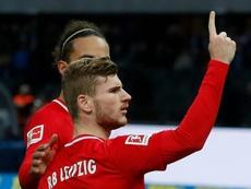 Werner reconduce al Leipzig hacia la cabeza. AFP
