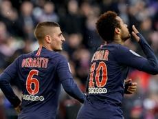 Verratti defendió a Neymar y le pidió que se quedara. AFP