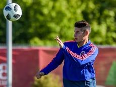 Tras todo el lío, James entrenó con Colombia. AFP