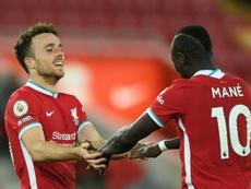 El Liverpool derrotó 2-0 al Midtjylland. AFP
