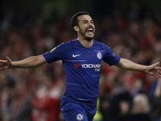 Pedro a évoqué le possible départ d'Hazard au Real. AFP