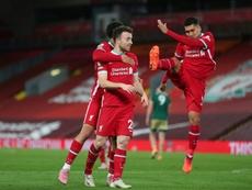 Diogo Jota se perfila como titular este martes en Anfield frente al Midtjylland. AFP