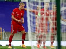 Premier hat-trick avec la Norvège pour Haaland. AFP