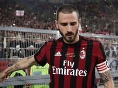 Bonucci recibió una multa del Milan de 100.000 euros... ¡por una roja! AFP