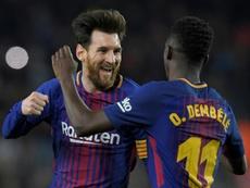 Messi y Dembélé lideran los mejores goles de Champions. AFP