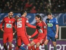 Cavani celebrates his extra-time goal which eases PSG through to next round.