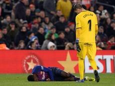 Dembélé souffre d'une entorse. AFP