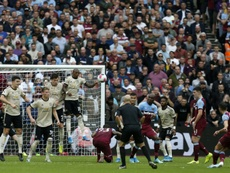 Cresswell scored a stunning free-kick in West Ham's win over Man Utd. AFP