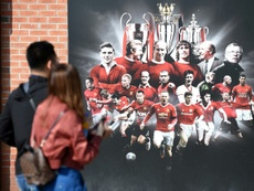 A panel at Old Trafford featuring Manchester United greats. AFP