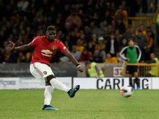 Pogba was denied from the spot by Rui Patricio as United dropped two points at Molineux. AFP