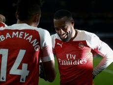 El Arsenal ya trabaja para renovar a Aubameyang y Lacazette. AFP