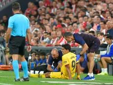 Suárez souffre d'une blessure à la jambe droite. AFP