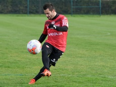 Le milieu de terrain de Dijon Frédéric Sammaritano, le 18 novembre 2015 lors d'un entraînement. AFP