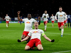 O RB Leipzig derrotou o Tottenham e chegou às quartas da Champions. AFP