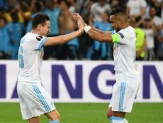El gol por castigo en Marsella. AFP