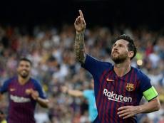 Messi comenzó la Champions por todo lo alto. AFP