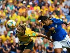 A Austrália venceu o Brasil com uma reviravolta no marcador. AFP