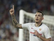 Lucas Ocampos só sai do Sevilla por muito dinheiro. AFP/Archivo