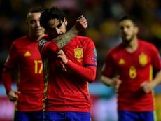 Isco auteur du 4e but de l'Espagne face à Israël, le 24 mars 2017 à Gijon. AFP