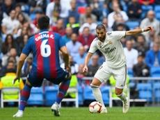 Benzema cherchera à marquer son premier but sur le terrain de Levante. AFP