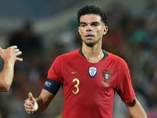 Pepe a dépassé les 100 matches joués avec le Portugal. AFP