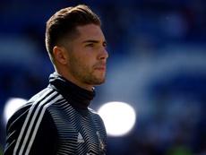 Luca Zidane, contento en Santander. AFP
