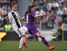 Guagni, cerca del Atlético Femenino. AFP